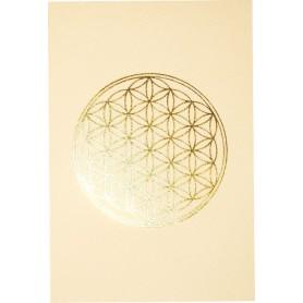 """Klappkarte """"Blume des Lebens"""" mattweiss/gold 12x17cm"""