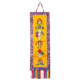 """Tibetischer Wandbehang """"All In One"""" Brokat 25x75cn"""