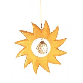 Kristallobjekt Sonne natur 12cm mit 20mm Kristallkugel