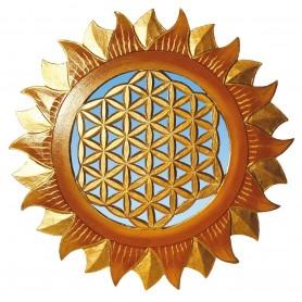 """Spiegel Ornament """"Blume des Lebens"""" anti/gold 40cm"""