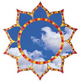 "Spiegel Mosaik ""Lotus"" bunt Glas 40cm"