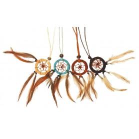 Traumfänger Halskette mit Federn Leder 3cm