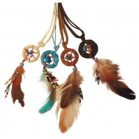 Traumfänger Halskette mit Perlen Leder 2cm