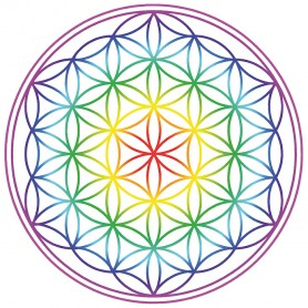 "Aufkleber Set 2x9cm  ""Blume des Lebens"" Regenbogen-Chakra transparent"
