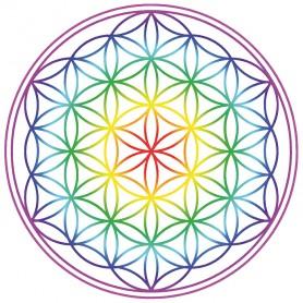 """Aufkleber 14cm  """"Blume des Lebens"""" Regenbogen-Chakra transparent"""