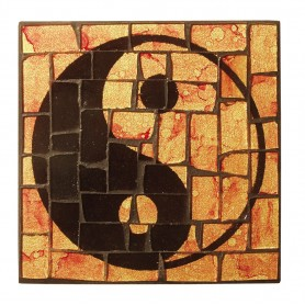 """Untersetzer """"Yin Yang"""" Glasmosaik 9x9cm"""