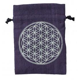 """Baumwollsäckchen """"Blume des Lebens"""" purple 8x11cm"""