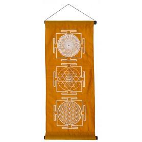 """Wandbehang """"Heilige Geometrie"""" Baumwolle orange 40x85cm"""