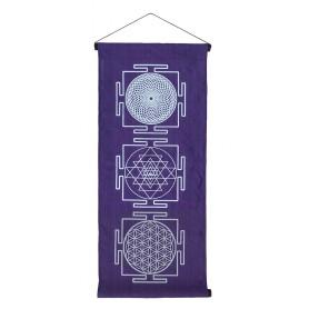 """Wandbehang """"Heilige Geometrie"""" Baumwolle purple 40x85cm"""