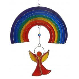"""Suncatcher """"Engel unter dem Regenbogen"""" Resin mehrfarbig 16x25cm"""