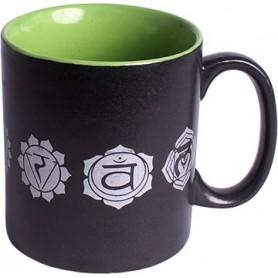"Kaffee-/ Teetasse ""7 Chakras"" Keramik schwarz/grün 10xØ8cm"