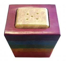 """Räucherstäbchen-/ Kerzenhalter """"Chakra Cube"""" Speckstein 4x5cm"""
