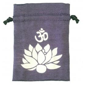 "Baumwollsäckchen ""Om Lotus"" purple 8x11cm"