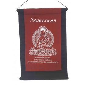 "Wandbehang ""Awareness/ Buddha"" Baumwolle maroon 27x40cm"