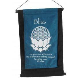 """Wandbehang """"Bliss/ BdL Lotus"""" Baumwolle türkis 27x40cm"""