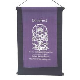 "Wandbehang ""Manifest/ Ganesha"" Baumwolle purple 27x40cm"