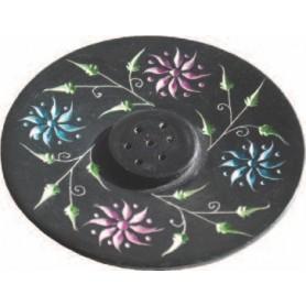 """Räucherstäbchenhalter """"Blume"""" Black Stone bemalt 10cm"""