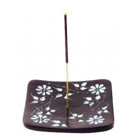 """Räucherstäbchenhalter """"Blume"""" Black Stone graviert 10x1"""