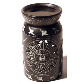 """Aromalampe """"Zylinder mit Sonne"""" Black Stone 6x10cm"""