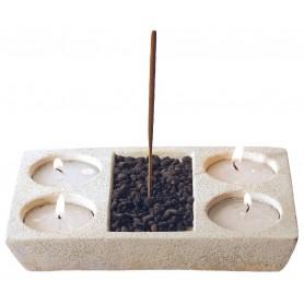 Räucherstäbchen-Teelichthalter Resin natur 10x15cm