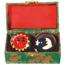 Qi Gong Kugel Sonne/Mond grün 40mm