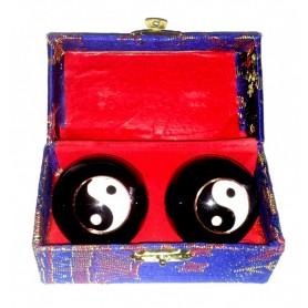 Qi Gong Kugel Yin Yang schwarz 40mm