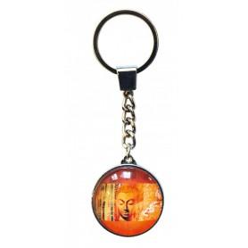 """Schlüsselanhänger """"Buddha"""" Glas orange 3cm"""