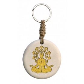 """Schlüsselanhänger """"Chakra Buddha"""" Stein weiss/gold 9cm"""