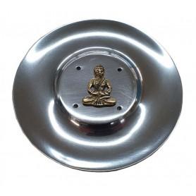 """Räucherstäbchenhalter """"Buddha"""" Messingrelief auf Metall rund 10cm"""