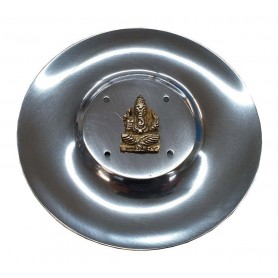"""Räucherstäbchenhalter """"Ganesha"""" Messingrelief auf Metall rund 10cm"""
