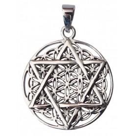"""Anhänger """"Blume des Lebens mit Hexagram"""" Silber 925 8"""
