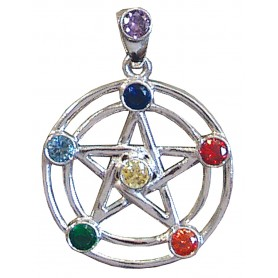 """Anhänger """"Pentagramm"""" 7 Chakrensteine Silber 925 6"""