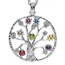 """Anhänger """"Baum des Lebens"""" mit 7 Zirkonia Silber 925 6"""