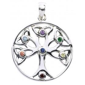 """Anhänger """"Baum des Lebens"""" mit 7 Zirkonia Silber 925 4"""