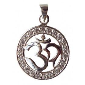 """Anhänger """"Om"""" mit 23 Zirkonia Silber 925 2cm"""