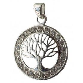 """Anhänger """"Lebensbaum"""" mit 23 Zirkonia Silber 925 2cm"""