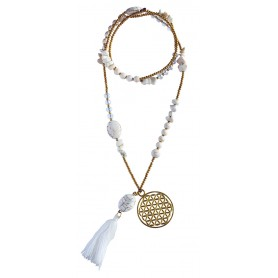 "Halskette ""Blume des Lebens"" Howlith-"