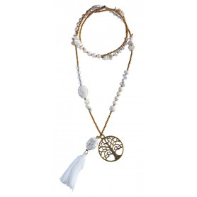 "Halskette ""Baum des Lebens"" Howlith-"