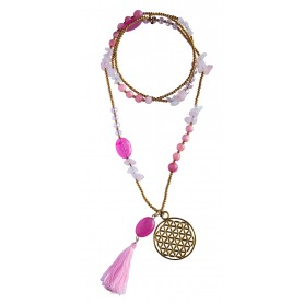 """Halskette """"Blume des Lebens"""" Rosenquarz-"""