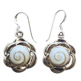 """Ohrhänger """"Shiva Auge im Lotus"""" je 2cm Silber 925 7"""