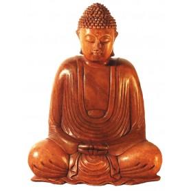 Gautama Buddha im Lotossitz Holz braun 25cm