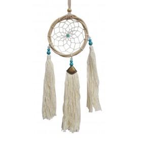 Traumfänger Rattan 8cm mit Howlith Perlen und weißen Quasten