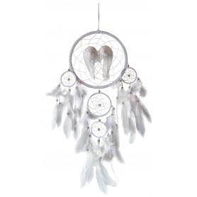 """Traumfänger Mobile """"Angel Wings"""" Leder weiß 22cm mit weißen Engelsfedern"""