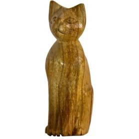 "Statue ""Katze sitzend"" Naturholz 10cm"