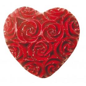"""Herz """" Rose """" Speckstein rot 6x6cm"""
