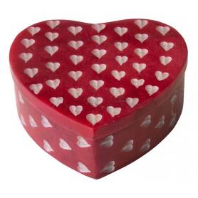 """Box """"Herz"""" Speckstein rot herzförmig 8cm"""