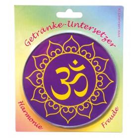 "Untersetzer ""Om Lotus"" Glas lila 10cm"
