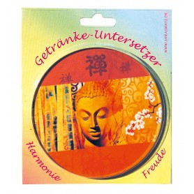 """Untersetzer """"Buddha"""" Glas orange 10cm"""