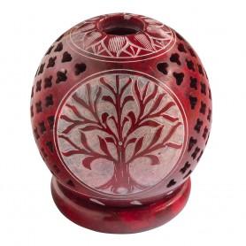 """Teelicht Kugel """"Baum des Lebens"""" Speckstein rot 8cm"""