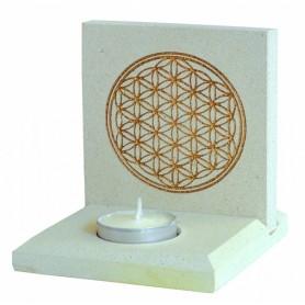 """Teelicht """"Blume des Lebens"""" Stein graviert weiss/gold 10x13cm"""
